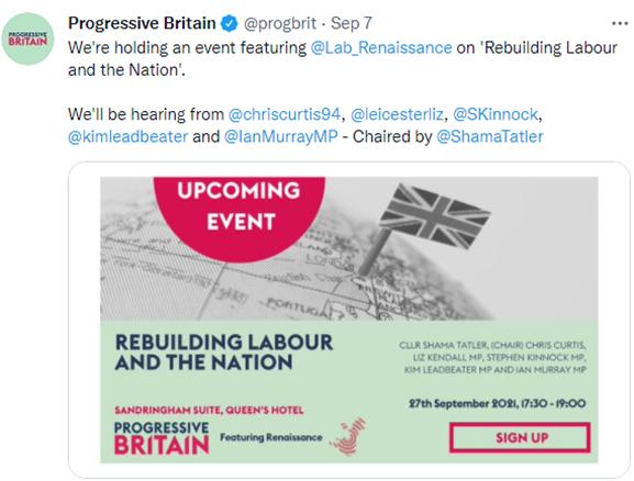Source- Author screenshot from Progress Britain Twitter Account.